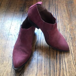 Lucky brand maroon suede ankle boots size 8.5M